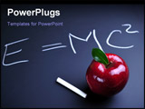 PowerPoint Template - Red apple and Einstein relativity formula on blackboard