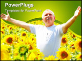 PowerPoint Template - Smiling happy senior elderly man outdoor. Summer