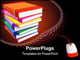 PowerPoint Template - Stack of color books with connected PC mouse isolated over white background