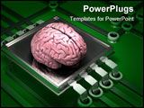 PowerPoint Template - d illustration of a human brain sitting on top of a simple microchip and electronic circuit on a da