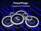 PowerPoint Template - 3d illustration of a set of metallic gears sitting on a glowing blue electronic circuit pattern