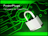 PowerPoint Template - 3d illustration of a metallic padlock clamped onto a glowing green electronic circuit pattern
