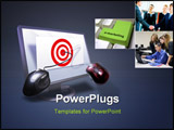 PowerPoint Template - Business target on monitor with mouse on target bulls eye