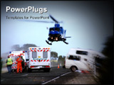 PowerPoint Template - a helicopter lifts off, with patient on board at road crash scene