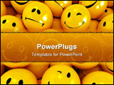 PowerPoint Template - Yellow icons with different facial expressions ideal for background