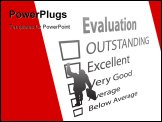 PowerPoint Template - A business employee climbs up the boxes of an Evaluation Improvement Form as a ladder.