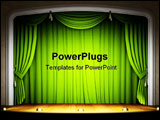 PowerPoint Template - Empty stage with green curtain in expectation of perfomance