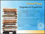 PowerPoint Template - Pile of documents and file folders on white background