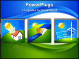 PowerPoint Template - Three icons with renewable energy: sun water and wind