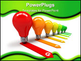 PowerPoint Template - Energy efficiency concept with colored light bulbs
