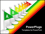 PowerPoint Template - Energy efficiency scale made from color flags isolated over white background