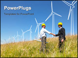 PowerPoint Template - Engineers in field with plans building windmills