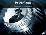 PowerPoint Template - engineer seen through the shaft of a giant gear wheel, duplex blue toning concept