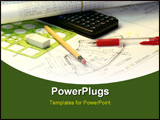 PowerPoint Template - various drafting related items concept for engineering