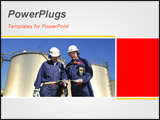 PowerPoint Template - two engineers in front of fuel storage tanks panoramic view and idea