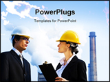 PowerPoint Template - Young male and female managers working together in an industrial situation with