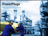 PowerPoint Template - engineers workers inside large oil and fuel industry background in a blue toning concept