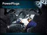 PowerPoint Template - two engineers working inside giant gear machinery