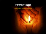 PowerPoint Template - Candle in two hands at the dark