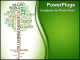 PowerPoint Template - Ecology - environmental poster made from words in the shape of green tree