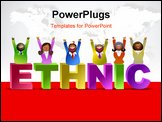 PowerPoint Template - happy and ethnic group of people - icon people series