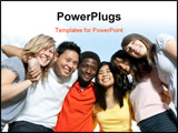 PowerPoint Template - Diverse young adult college students outside on a nice day.