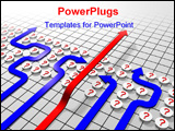 PowerPoint Template - 3d generated illustration with arrows. Showing way to evade problem in business