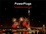 PowerPoint Template - celebration of new year in Macau with fireworks beside the tower convention and entertainment center