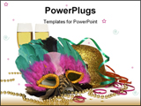 PowerPoint Template -  mask, a gold glitter hat, gold beads, streamers and two glasses of champagne. isolated on white ba