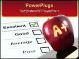 PowerPoint Template - An apple with A plus carved into it symbolizing success.