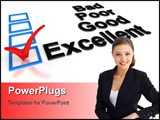 PowerPoint Template - Check Mark symbol AT the side of the Excellent option. High quality 3D render.