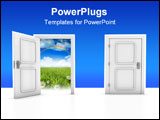 PowerPoint Template - 3D render of two doors isolated on white background.