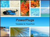 PowerPoint Template - Tropical collage. Exotic travel. Caribbean sea Dominican Republic