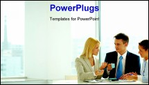 PowerPoint Template - Smart woman explaining her idea to colleagues in office