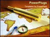 PowerPoint Template - Telescope and compass on a world map. Digital illustration.