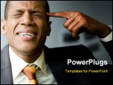 PowerPoint Template - Image of confused man touching his temple with forefinger in trouble