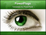 PowerPoint Template - Feminine green eye. Extreme close-up. High key.
