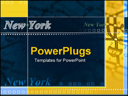 PowerPoint Template - map with New York