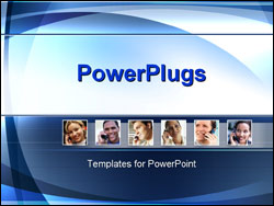 PowerPoint Template - smiling business people talking on phone