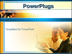 PowerPoint Template - business workers on computer and cell phones