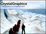 PowerPoint Template - Team of hikers walkign up into snowy mountains.