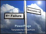 PowerPoint Template - 3D image of a sign post indicating success and failure a metaphor for business decision making.