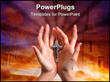 PowerPoint Template - Two woman hands with Christian symbol cross