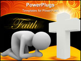 PowerPoint Template - Man praying in lap. Isolated 3d image
