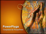 PowerPoint Template - Hands in prayer with flower stain overlay. Photo based illustration.
