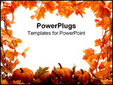 PowerPoint Template - Fall leaves and pumpkins frame the page.