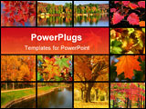 PowerPoint Template - autumn in city park with river at october