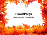 PowerPoint Template - Fall leaf border with pumpkins isolated on a white background
