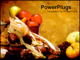 PowerPoint Template - Fruits and vegetables in a fall display.