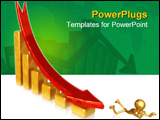 PowerPoint Template - Golden chart with falling red arrow over white with light reflections